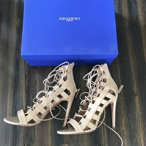 AQUAZZURA nude leather lace up heels in size 37